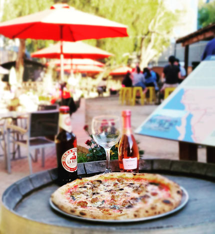 Joe's Special Pizza, with a bottle of Birra Rossa and a glass of Rose, enjoyed at the beautiful historic San Pedro Square Market Plaza